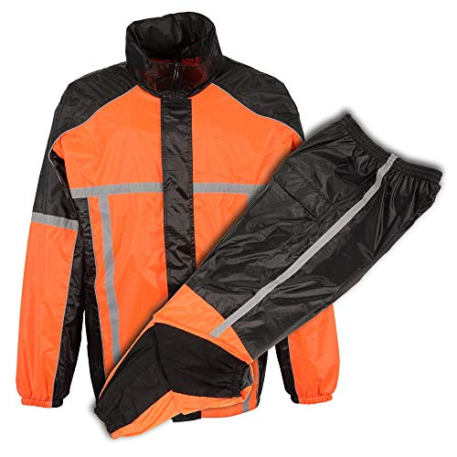 Milwaukee Performance MPM9510 Men's Black and Orange Water Resistant Rain Suit with Hi Vis Reflective Tape - Large