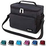 Leakproof Reusable Insulated Cooler Lunch Bag - Office Work Picnic Hiking Beach Lunch Box Organizer with Adjustable Shoulder Strap for Women,Men-Black
