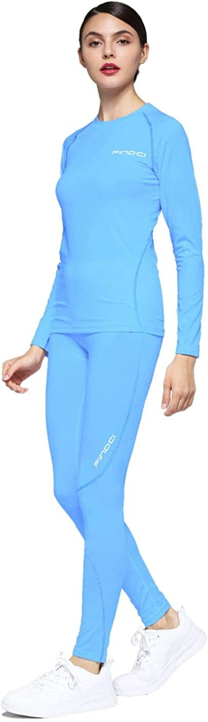 Womens 2PCS//Set Dry Fit Athletic Compression Long Sleeve T Shirt Legging Fitness Suit Baselayer