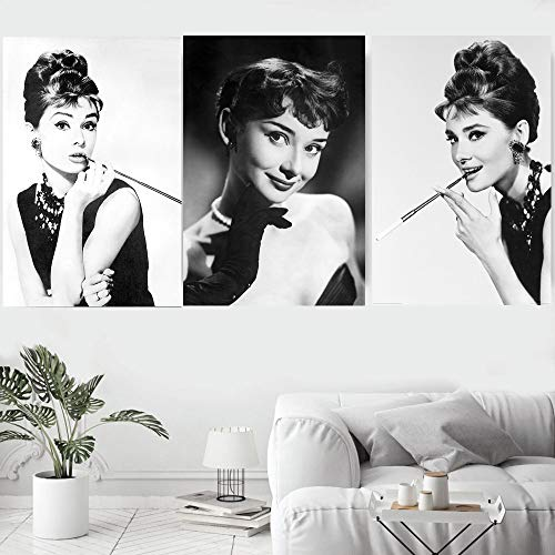 KWzEQ Vintage Famosa Actriz Retrato Lienzo impresión Cartel Moderno Artista de Pared decoración del hogar,60X90cmx3,Pintura sin Marco