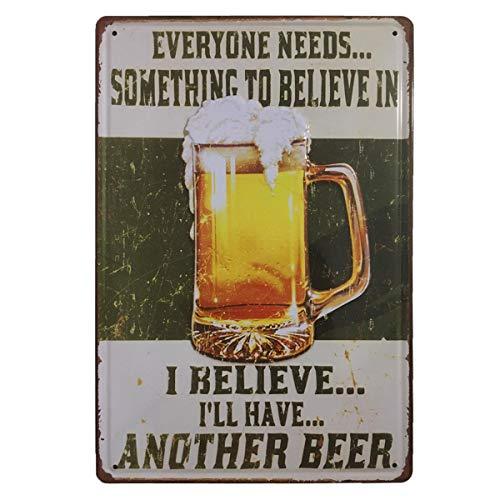 BOEMY Cartel de Cerveza. Chapa Decorativa Vintage [con Relieve y Autocolgable]. Placa de Pared metálica Retro de 20x30 cm. (Jarra con Mensaje)