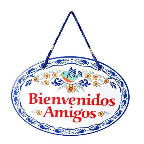 Unbekannt E.H.G Bienvenidos Amigos Latino Traditionelles Kunstwerk Spanische Welcome Friends 11 x 8 cm Keramik-Türschild von E.H.G. blau