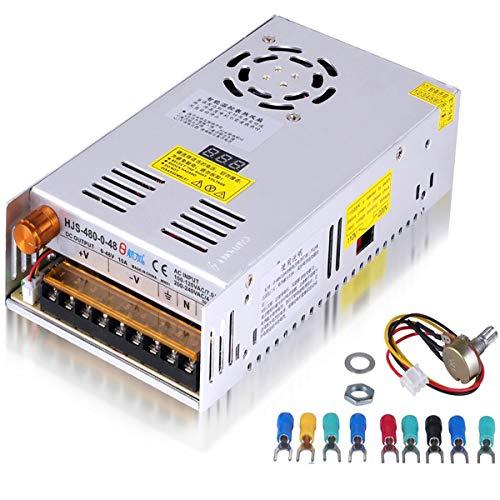 Adjustable DC Power Voltage Converter AC 110V-220V to DC 0-48V Module Switching Power Supply Digital Display 480W Voltage Regulator Transformer Built in Cooling Fan