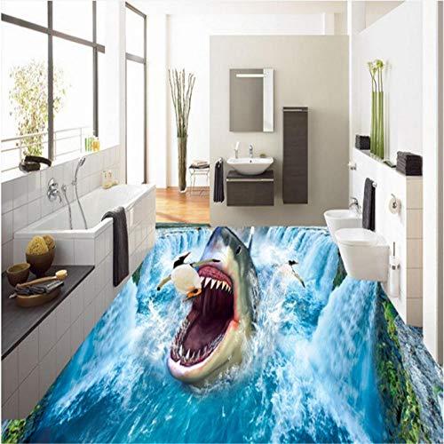 Wuyii Gepersonaliseerde 3D-Hai, waterval, pinguïne, esthetische look, dikke tegels, waterdicht, draagbaar 250 x 175 cm.