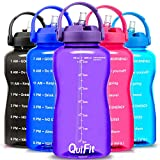 QuiFit Half Gallon Water Bottle - with Straw & Time Marker BPA Free 64 oz Large Motivational Water Jug Leak-Proof Durable for Fitness Outdoor Enthusiasts(Violet,64 oz)