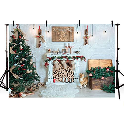 MEHOFOTO - Fondo de fotografía para árbol de Navidad, decorado con árbol, chimenea y otros objetos navideños sobre pared y suelo de madera blancos, 2,2x1,52cm
