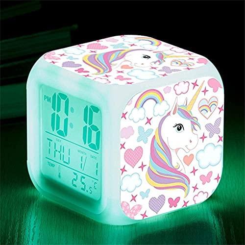 Réveils numériques Licorne, 7 Changement de Couleur LED LCD Cube avec lumières Enfants réveils, Table de Chevet Cadeau d'anniversaire Fille Garçon Femmes Chambre Adulte (Licorne 1)