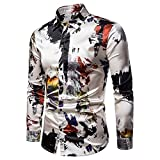 Loeay Camisas Estampadas de satén de Seda para Hombres Camisa de Fiesta de Manga Larga de Corte Slim para Hombre Camisa Estampada para Hombre 1 S