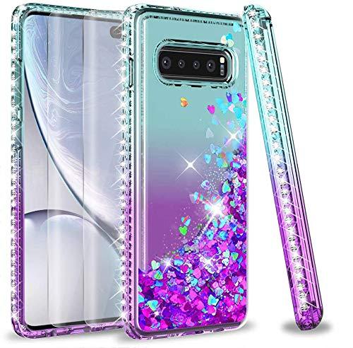 LeYi Funda Samsung Galaxy S10 Plus Silicona Purpurina Carcasa con [2-Unidades 3D Curvo Pet Pantalla],Transparente Cristal Bumper Gel TPU Fundas Case Cover para Movil Galaxy S10 Plus Verde/Morado