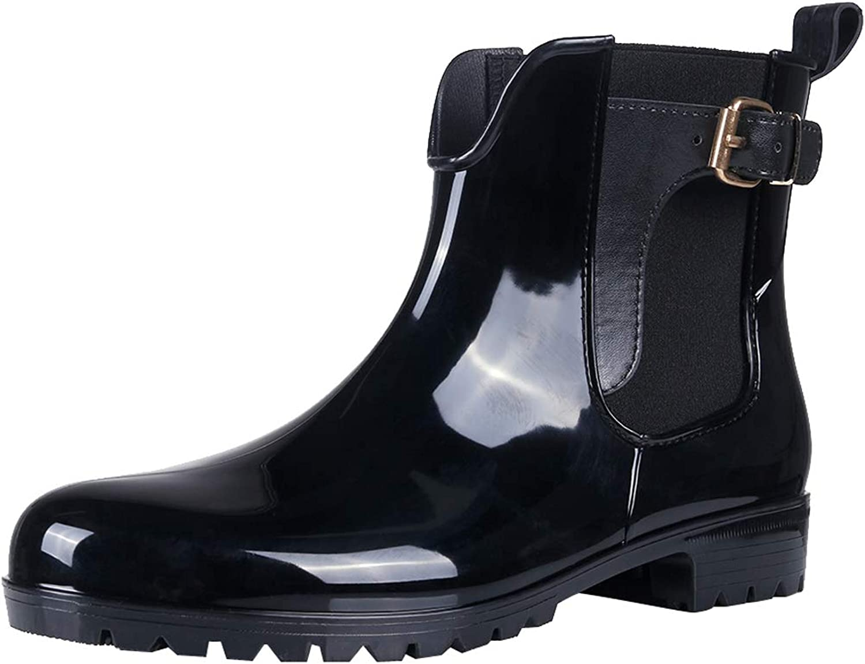 Womens Ankle Rain Boots Shiny Waterproof Belt Short Boots