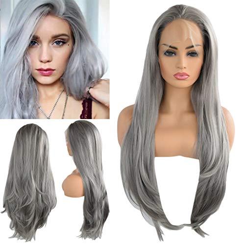 Andouy 35 cm perruque femme naturelle br/ésilien haute qualit/é Cosplay Pour perruque Marron Droites Cheveux longs T/ête Bobo Perruque