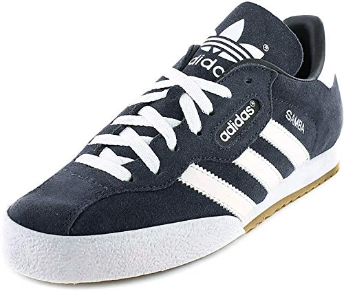 adidas Mens Samba Suede Trainers Lace Up Training Leather Upper Sport Shoes Navy/White UK 9 (43.3)