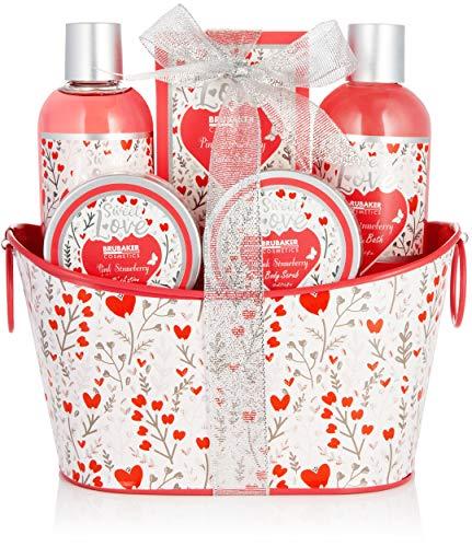BRUBAKER Cosmetics Set de Baño y Ducha 6 Piezas Fresa Sweet Love en Cesta Metálica Deco - Set de Cuidado de Regalo con Diseño de Flores - Rosa