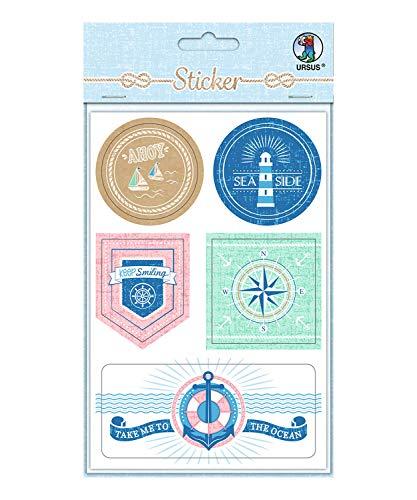 URSUS 59520003F Sticker Maritim, selbstklebend, 24 Stück in verschiedenen Größen und Motiven, Bunt, One Size