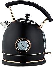 Bouilloire Électrique Acier Inoxydable En 1.8L Vintage Rétro Avec Thermomètre Ebullition Rapide 1800W Protection Contre L'...