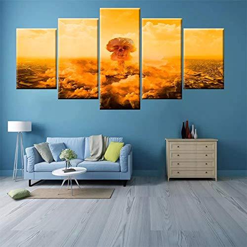 AWER Decoracion Salon 5 Piezas de Arte Marco,Moderno HD sobre lienzos impresión Cuadro Usado para Hogar Oficina Regalo,Cráneo de nube abstracta,Tamaño Total: (H-80cm x M/B-150 cm)