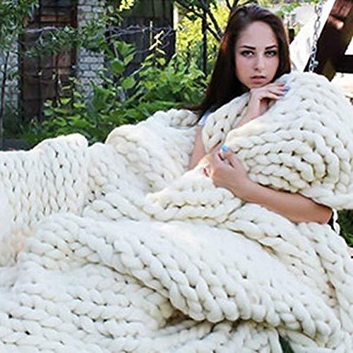 Handgemaakt Chunky Gebreide wollen deken, deken, deken, yogamat, tapijt, groot, zacht, super groot, knapperig gebreid, deken, huisdier, bed, stoel, sofa, 100 x 120 cm (39 x 47 inch)