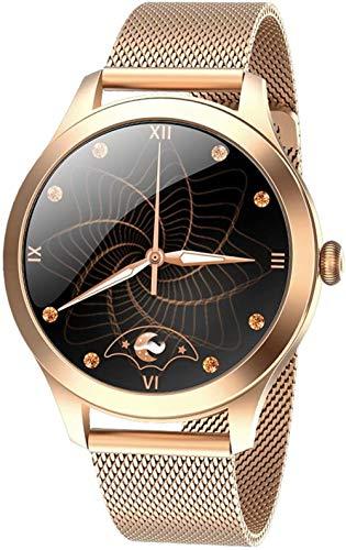 AMBM Reloj inteligente para mujer Full Touch 240 * 240 IP68, resistente al agua, monitor de ritmo cardíaco, monitor de sueño, reloj inteligente para mujer (color plata-oro