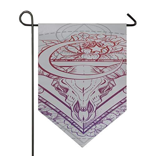 YXUAOQ Bandera de césped de Bienvenida Cabeza de Toro Cráneo con Flo