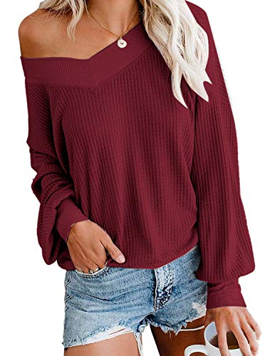 Sweater Top for Women V Neck Long Sleeve Off Shoulder Plus Size Autumn/Winter Wine Red