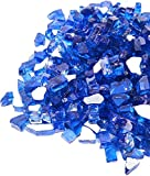 GASPRO 20 Pound Fire Glass -1/2 Inch Reflective Tempered Fire Glass for Propane Fire Pit, Fire Pit Glass Rock for Gas Fireplace, Cobalt Blue Reflective