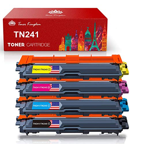 Toner Kingdom Cartucho de Tóner Compatible Repuesto para Brother TN241 TN245 para DCP-9020CDW DCP-9015CDW HL-3140CW HL-3150CDW HL-3170CDW MFC-9130CW MFC-9140CDN MFC-9330CDW MFC-9340CDW (4 Paquete)