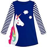 Sunny Fashion Robe Fille Coton Longue Manche Licorne Broderie Marine Bleu 2 Ans