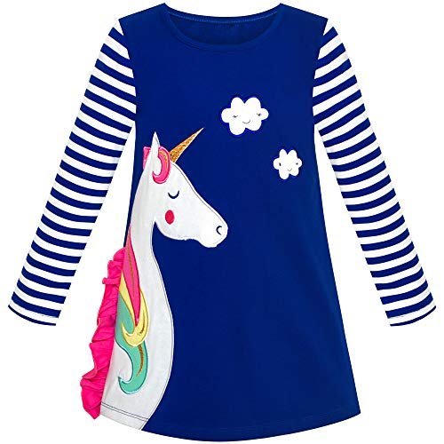 Vestido para niña Algodón Manga Larga Unicornio Bordado Azul Marino 5 años