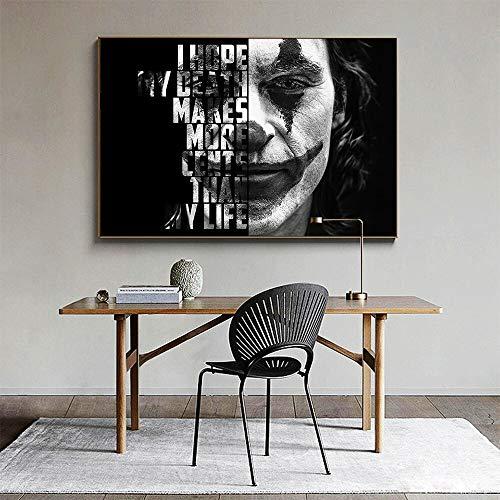 ganlanshu Wanddruck auf Leinwand, Figurenzeichnung, Clownplakat, Bild für Wohnzimmerdekoration,Rahmenlose Malerei-30X45cm