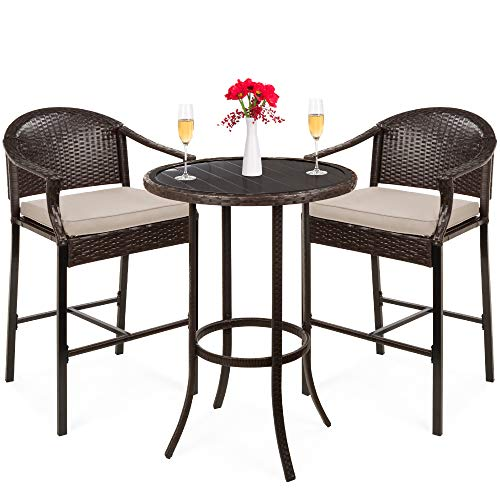 Best Choice Products 3-Piece Outdoor Wicker Bistro Bar Height Table Set for Patio, Poolside, Porch, Deck, Backyard, Garden w/Barstools, Footrests, Cushions, Steel Frame - Beige