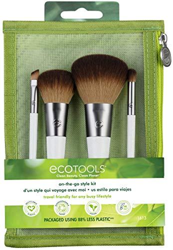 EcoTools Kit de pincéis de maquiagem para viagem com bolsa de cosméticos para viagem, com sombra, base e pincéis angulares para delineador de olhos (conjunto com 5)