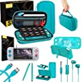 Orzly Switch Lite Accessories Bundle - Case & Screen Protector for Nintendo Switch Lite Console, USB Cable, Games Holder, Grip Case, Headphones, Thumb-Grip Pack & More (Gift Pack - Turquoise Blue) by Orzly