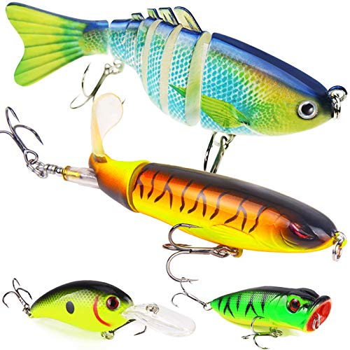 Fishing Lures with Floating Rotating Tail Barb Treble Hooks and 7 Segments Multi Jointed Trout...