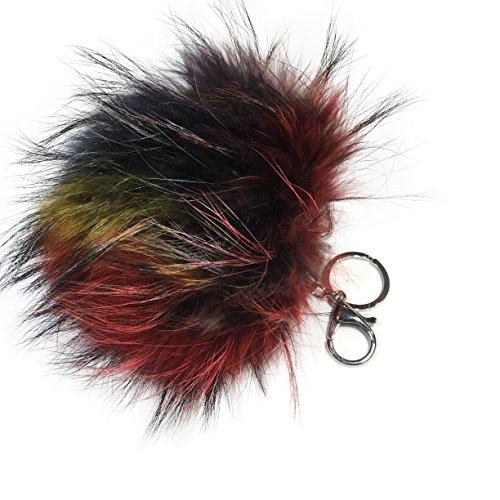 Colgante para bolso, XXL, Llavero, pompón de pelo, piel real, Varios colores