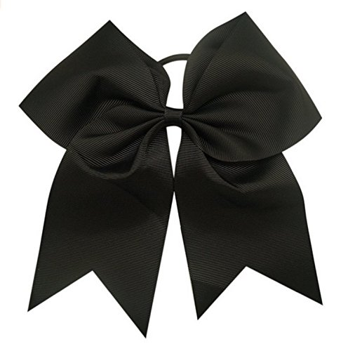 Kenz Laurenz Cheer Bows Black Cheerleading Softball - Gifts for Girls and Women Team Bow with Ponytail Holder Complete Your Cheerleader Outfit Uniform Strong Hair Ties Bands Elastics (1)