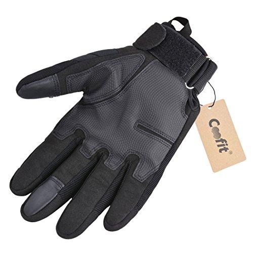 Coofit Taktische Handschuhe Winter Motorrad Handschuhe Herren Vollfinger Army Gloves Biking Skifahre Handschuhe (Schwarz, XL) - 4