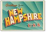 Imán para nevera con ilustración de Nueva Hampshire, EE. UU.
