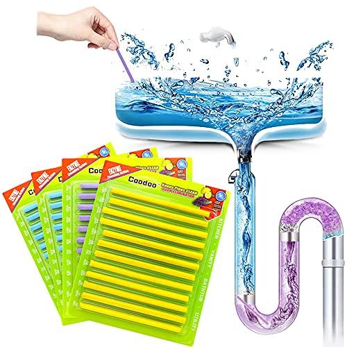 48PCS Drain Cleaner Sticks Sink Deodorizer Clog Remover Organic Enzyme Drain Cleaner Tank Safe Prevent Expensive Sewage Backups for Kitchen Bathroom Toilet Showers