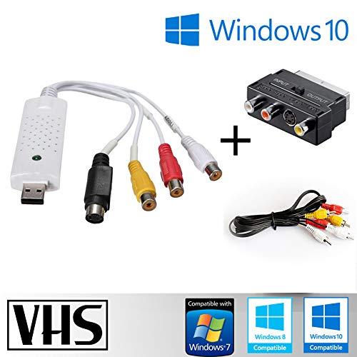 Tech Stor3 USB 2.0 Audio/Video Grabber 2020 + Adapter Scart+Cinchkabel kompatibel mit Windows 10 |VHS|Video-Aufnahmekarte USB|Capture Card|Hi8