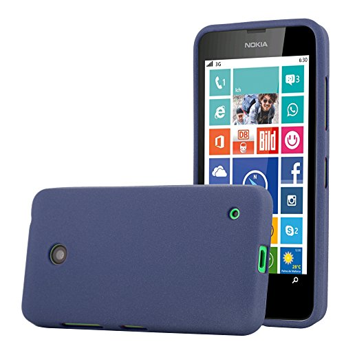 Cadorabo Hülle für Nokia Lumia 630 - Hülle in Frost DUNKEL BLAU – Handyhülle aus TPU Silikon im matten Frosted Design - Silikonhülle Schutzhülle Ultra Slim Soft Back Cover Hülle Bumper
