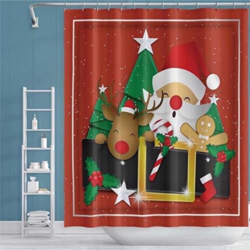 Qinunipoto Merry Christmas Shower Curtain Xmas Elk Reindeer Santa Claus Ho Ho Ho Tree Toys Boots Star Red Square Framed Cartoon Bath Curtain for Kids Girl Xmas Bathroom Decor Bathtub 72x72 inch