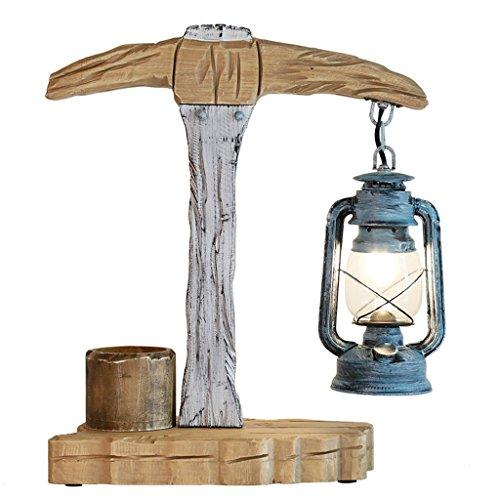 CKH Nordic eenvoudige bureaulamp retro lantaarn kerosine lamp massief hout graveren lamp stekker knop schakelaar glas lampenkap