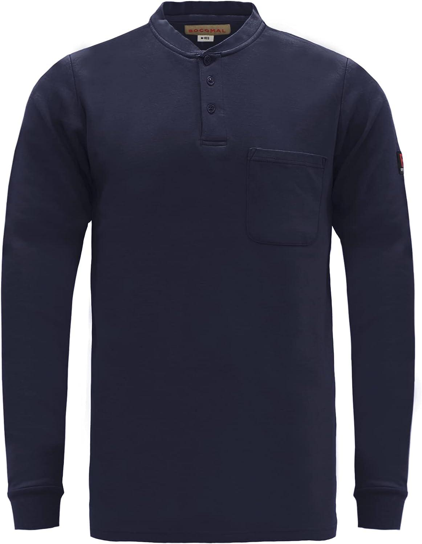BOCOMAL FR Shirts Flame Resistant Shirts FR T Shirt NFPA2112/CAT2 7oz Men's Long Sleeve Fire Retardant Henley Shirts