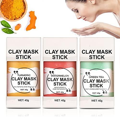 WDAC Turmeric Mask Stick, Watermelon/Green Tea Mask Stick, Purifying Deep Clean Pore, Clay Stick Mask, Skin Brightening Face Moisturizes Oil Control Blackhead Removal (3 in 1 Set)