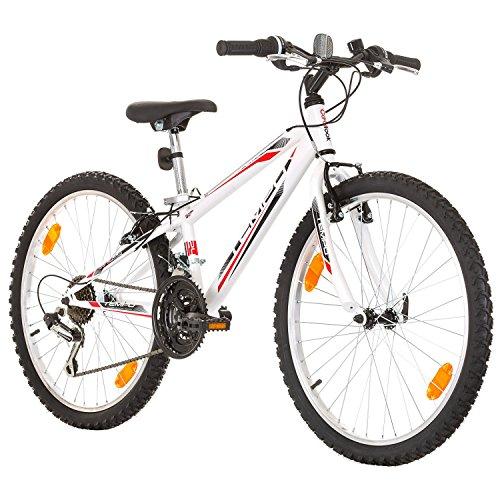 Multibrand, PROBIKE TEMPO, 24 pollici, 279mm, Mountain Bike, 18 velocità, Unisex, Parafango anteriore + posteriore, Bianco Lucido (Bianco)