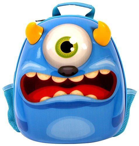 Bayer Chic 2000 Bouncie mit 3D-Monster-Motiv, geeignet für den Kindergarten, groß Kinder-Rucksack, 35 cm, Blau