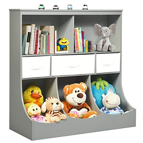 Costzon 3-Tier Kids Bookcase Toddler Storage Organizer Cabinet Shelf w/ 8 Compartment Box and 3 Removable Drawers for Children, Freestanding Storage Unit for Bedroom Decor Room (Gray)