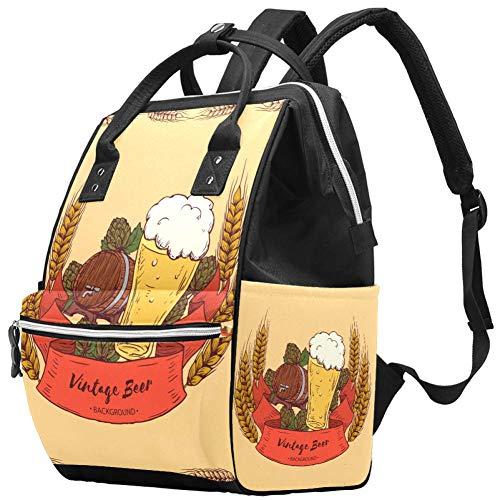 Multifunktions-Wickeltaschen-Rucksack, Retro-Bier und Gersten-Muster, Wickeltasche, Reiserucksack für Mama und Papa