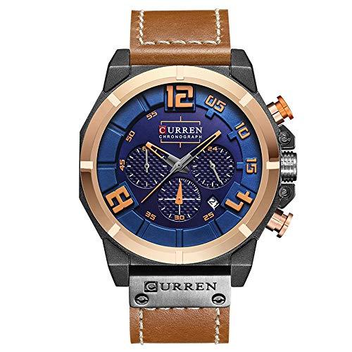 CURREN Herrenuhr Multifunktions Militär Sport Armbanduhr Lederarmband mit Datumsanzeige 8287