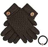 Womens Winter Premium Soft Warm Double Layer Fur Lining Gloves with Hair Tie (Button, Brown) One Size